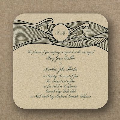 Nautical Nuptials - Imperial Invitation - shown on Kraft stock. Also available in shimmer and texture stocks From the new Jean M Mixation line at Quaint Wedding Stationery