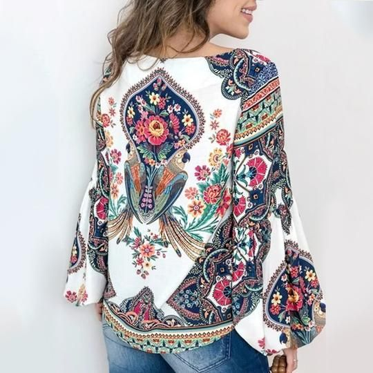 v neckline with tassel blouse and tops multi colored floral printed summer tops /& tunics long sleeve women boho blouse