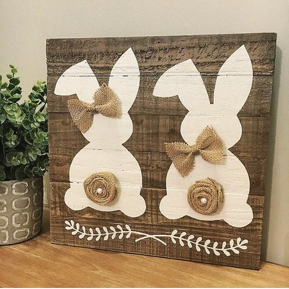 Rustic double easter bunny sign easter sign by CoastalCraftyMama: