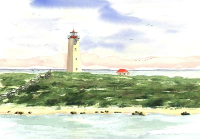 Faulkner Island Light, Guilford Watercolor prints and note cards of over 250 lighthouses all over the USA.  Start your collection today. Original paintings by sailor/artist  Alfred La Banca, Darien, CT