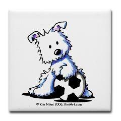 Westie Soccer Star Tile Coaster