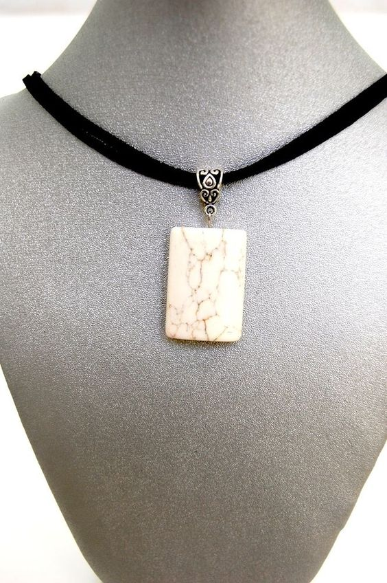 Natural Gemstone White Pure Magnesite Pendant Necklace Fengshui Chakra Gift @Gail Regan Truax://stores.ebay.com/BeautyandtheGems.