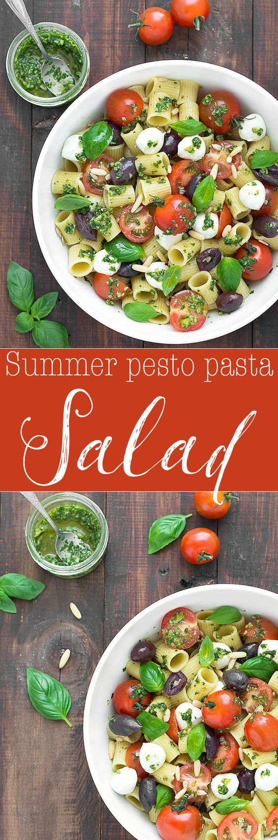 Summer pesto pasta salad: an easy pasta salad, filled with Mediterranean flavors and ready in under 15 minutes.
