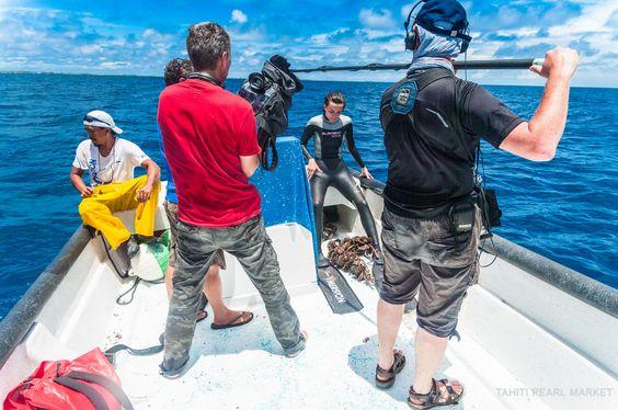 Salomé en tournage avant sa plongée dans les eaux chaudes du Pacifique