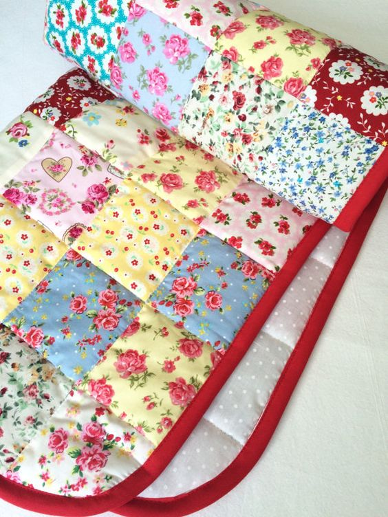 Small Quilt Cot Quilt Shabby Chic Baby Quilt by AngiesPatchQuilts