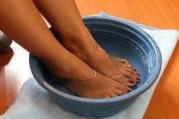 Soaking legs in water