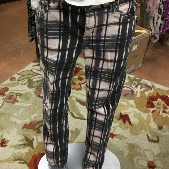 Plaid ,thin corduroy pants by FP So soft comfy pants by FP Free People Pants Straight Leg
