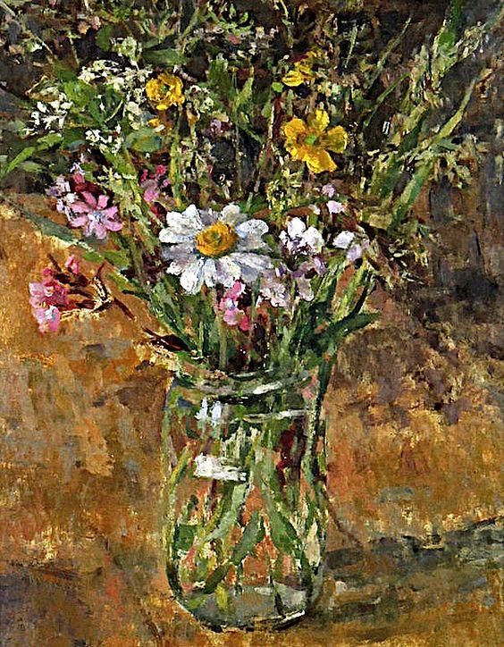 Diana Maxwell Armfield RA (British, born 1920) Wild flowers in a glass vase