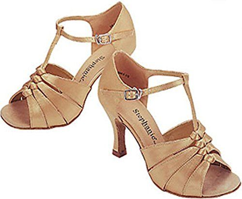 "Latin T-Strap 2.5"" Heel (7, Tan Satin) Stephanie http://www.amazon.com/dp/B007MFA1GY/ref=cm_sw_r_pi_dp_khafub0QXA7WG    Another dance shoe.  They run big and come in half sizes.  No wide option."