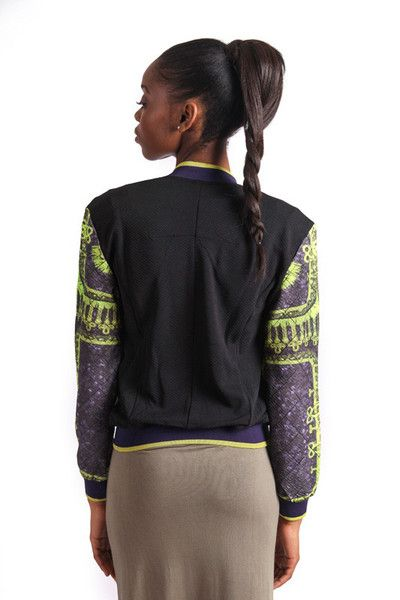 STATEMENT EMBELLISHED BOMBER R 790.00 - Band collar - Zip through fastening - Zipped front pockets - Stretch cuffs and hem - Embellished diamante front - Stained glass print - Cropped length