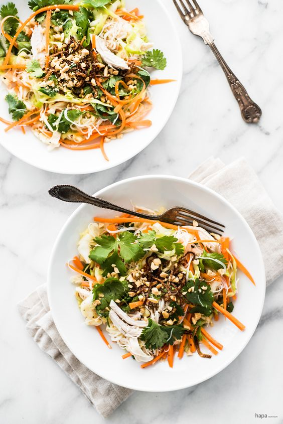 salad with ginger-garlic poached chicken, vermicelli rice noodles ...