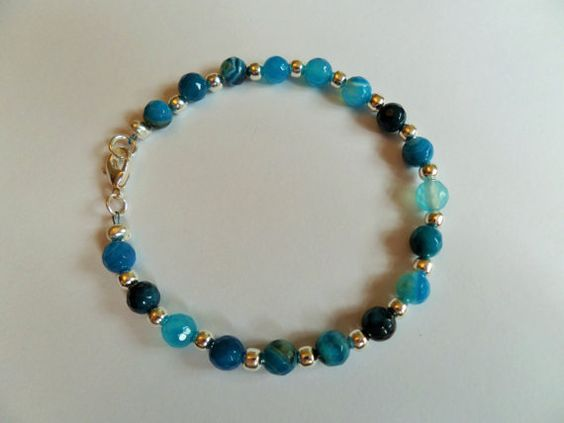Gemstone bracelet of faceted shades of by CoastalMoonJewellery