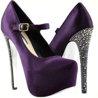 Beautiful purple mary jane with rhinestone encrusted heel <3 ...