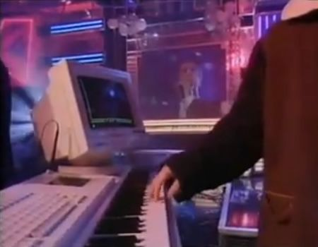 Fairlight synthesizer. The hand belongs to Pet Shop Boy, Chris Lowe.