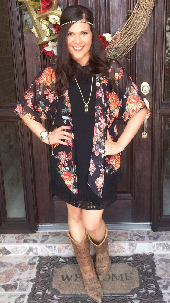 Black Shift Dress Summer Outfit Floral Fringe