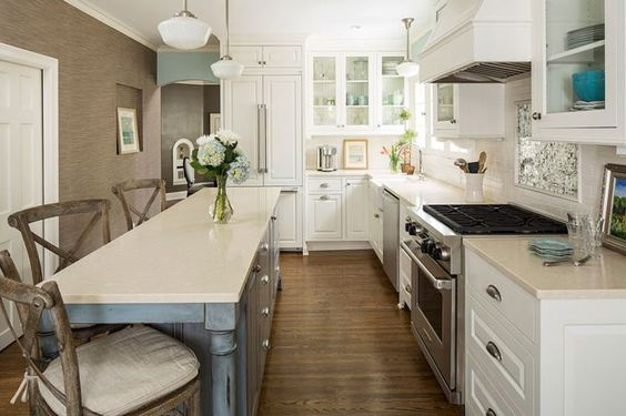 House of turquoise narrow kitchen and islands on pinterest for Skinny kitchen island