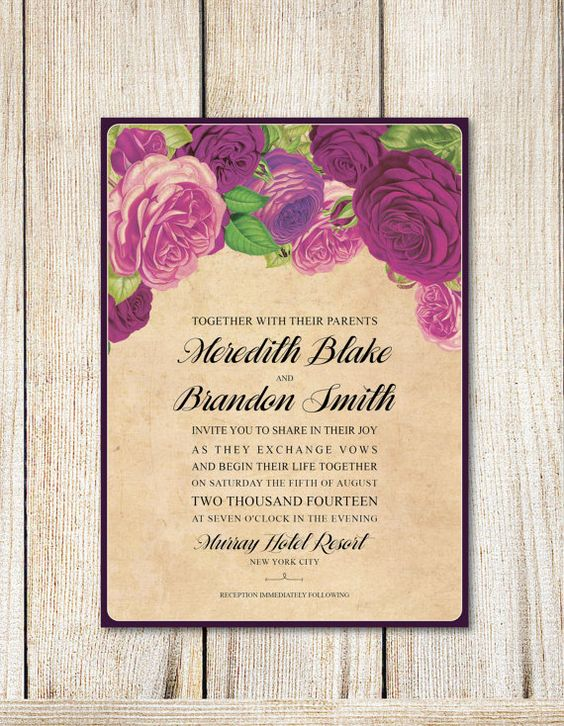 Printable Wedding Invitation Set Rose Dyi by RoseBonBonShop