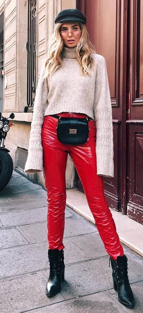 beautiful outfit / hat + nude sweater + bag + red leather pants + boots