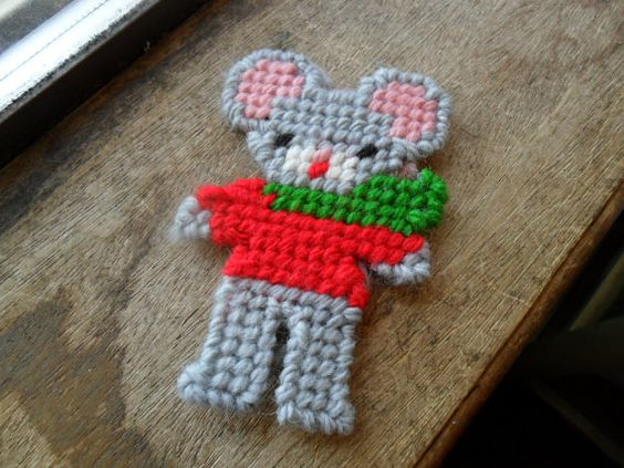 Holiday mouse canvas christmas ornament 1 by cakeordeath5 on Etsy, $3.15