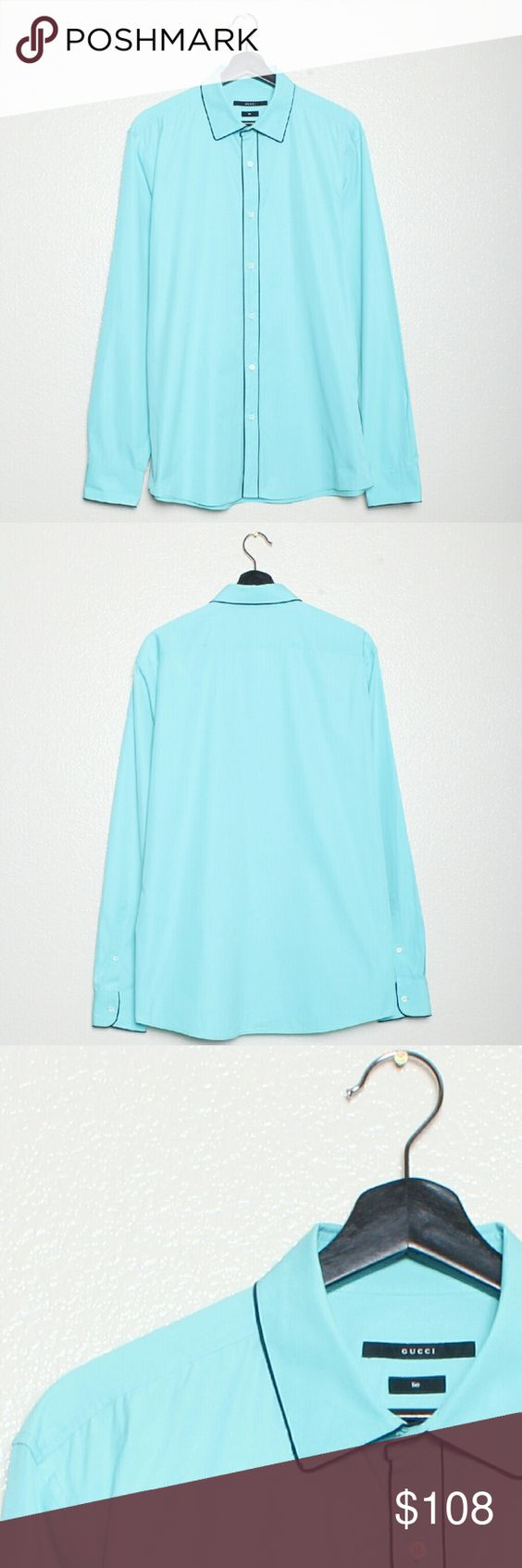 """Gucci Tie Teal Cotton Dress Shirt Size 42 100% Cotton. Measurements: Chest = 46"""", Sleeve = 37.5"""", Length = 30"""", Collar 17"""". Like new condition. Previously worn or washed. Limited to a couple of times. Gucci Shirts Dress Shirts"""