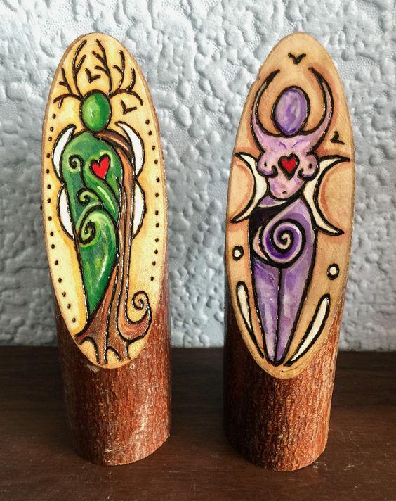 Magickal Ritual Sacred Tools Wooden God And Goddess