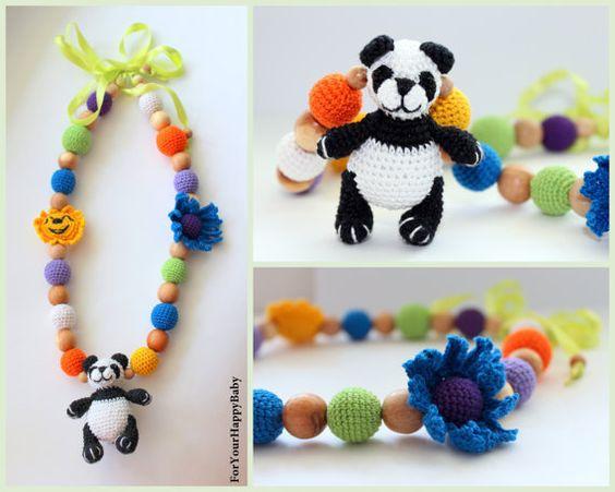 Amigurumi Panda breastfeeding necklace necklace/blue flower/sun