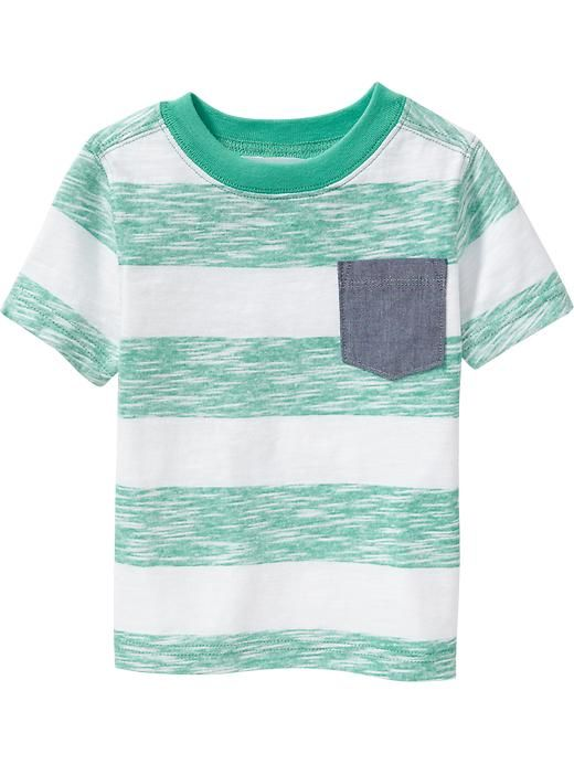 Striped Chambray-Pocket Tees for Baby