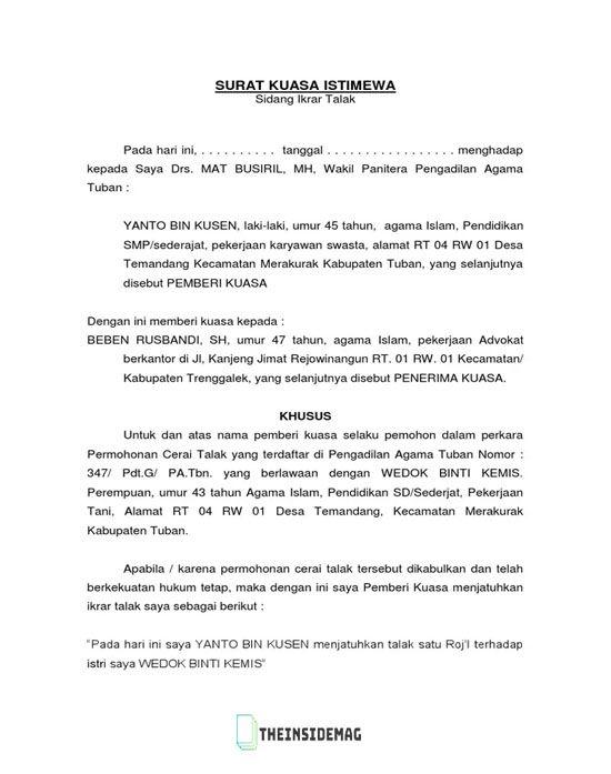 Contoh Surat Cerai Indonesia