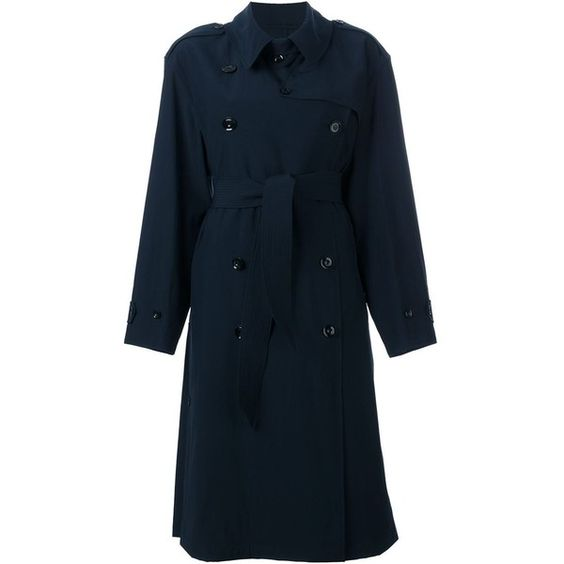 Lemaire Double Breasted Belted Coat (17 960 ZAR) ❤ liked on Polyvore featuring outerwear, coats, blue, double breasted belted coat, blue double breasted coat, lemaire, blue coat and belted coat