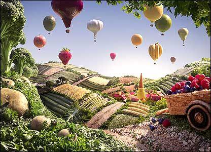 Foodscapes!  Carl Wagner é um fotógrafo britânico. Ele prepara paisagens, cuidadosamente, usando apenas alimentos como base para a sua escultura.