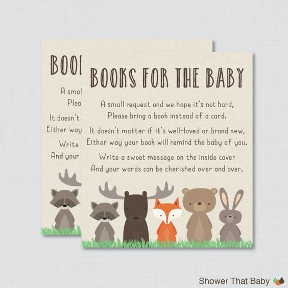 woodland baby shower bring a book instead of a card invitation inserts