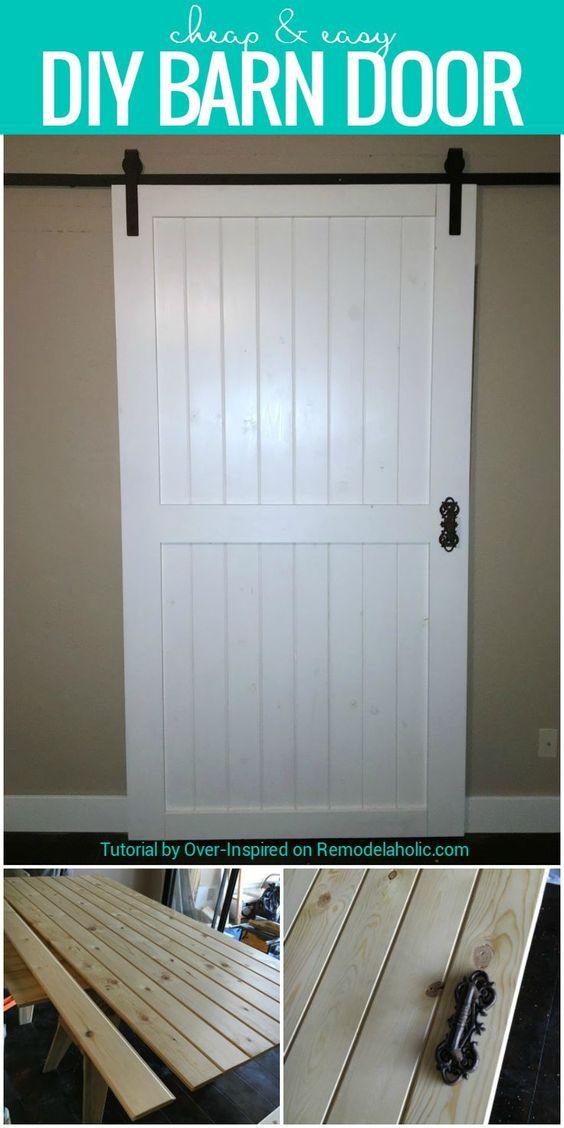 Build this cheap and easy DIY barn door for around $80! Plus tips for finding budget-friendly rolling door hardware and door handles.