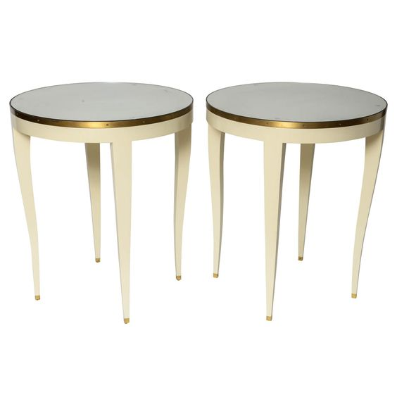 Angelo Donghia Round Side Tables | 1stdibs.com