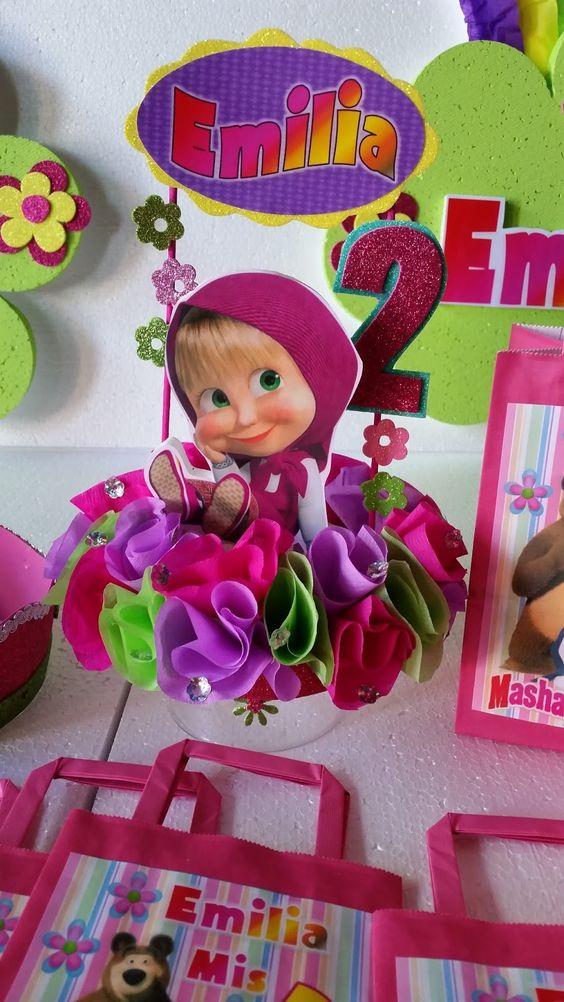 Decoraciones infantiles masha y el oso infantiles for Decoracion mesas infantiles