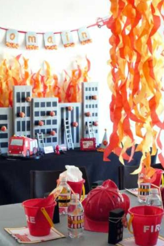 fire fireman party and backdrops on pinterest. Black Bedroom Furniture Sets. Home Design Ideas