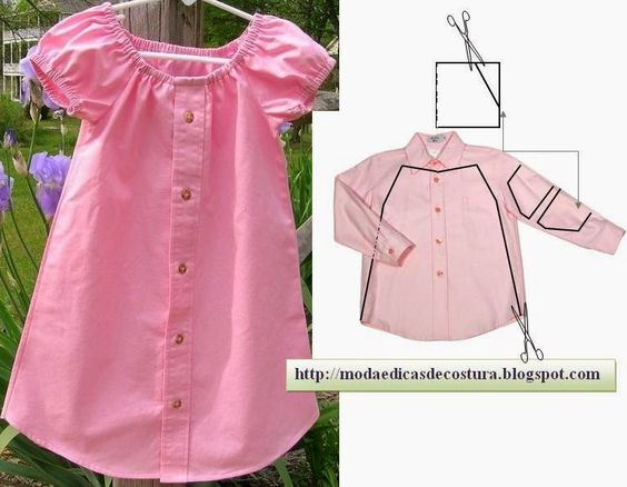 RECYCLING IN TRANSFORMED MAN SHIRT DRESS CHILD. THIS IS A GREAT IDEA AND EASY TO ACHIEVE. THE MOST EXPOSED TO WEAR PARTS ARE REMOVED FROM THE SHIRT AND USE FOR THIS REASON NOT GO AFTER THE JOB DONE NOTE. THE MORE ATTRACTIVE FOR THE PATTERN OF SHIRT IS MORE BEAUTIFUL WORK OF RECYCLING.: