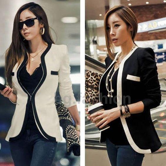 Women's Black White Sexy Slim OL Blazer Jacket Coat Blazer Casual Suit Outwear