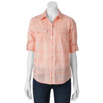 Croft & Barrow Dobby Checkered Roll-Tab Shirt - Women's