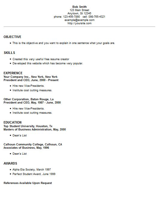 resume example 2 College tips Pinterest Resume creator, Free - resume creator