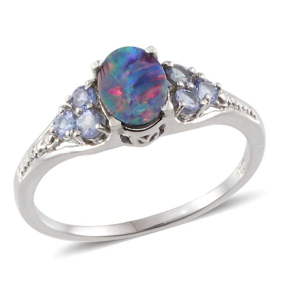 Australian Boulder Opal (Ovl 0.90 Ct), Tanzanite Ring in Platinum Overlay Sterling Silver Nickel Free (Size 7) TGW 1.40 Cts.