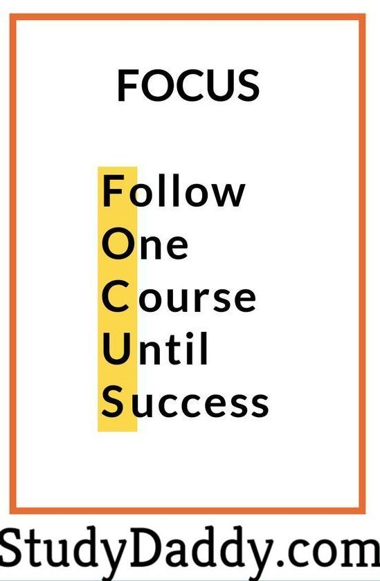Focus One Course Until Success Studydaddy Homework Help Tutor Homework