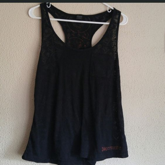 Jagermeister tank top Super cute Jagermeister razor back tank top with front pocket. Tank top is see thru (see picture 3). Really cute worn over a tube top or bathing suit Jagermeister Tops Tank Tops