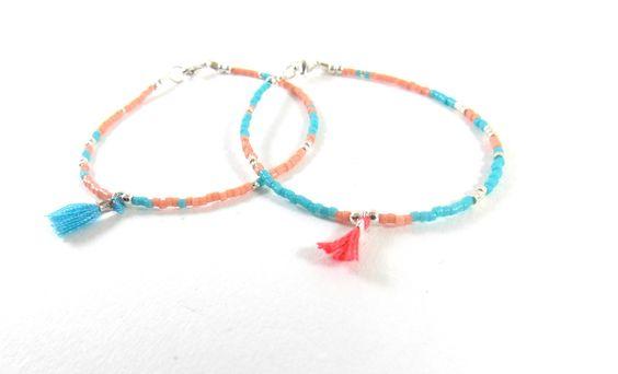 Satya 2 bracelets argent 925 turquoise et rose, perles Miyuki et mini pompon : Bracelet par meg-creation