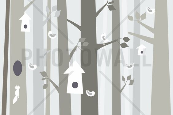 Bird Forest - Beige - Fototapeten & Tapeten - Photowall