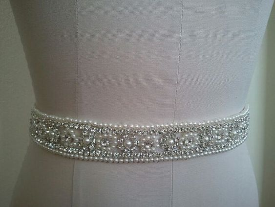 Wedding Belt, Bridal Belt, Sash Belt, Crystal Rhinestone & Off White Pearls - Style B30099 on Etsy, $48.00