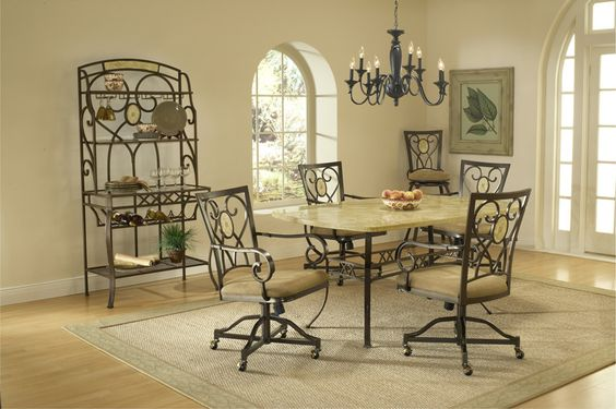 Hillsdale 4815DTBCOVC Brookside 5-Piece Rectangle Dining Set w/Oval Back Caster Chairs