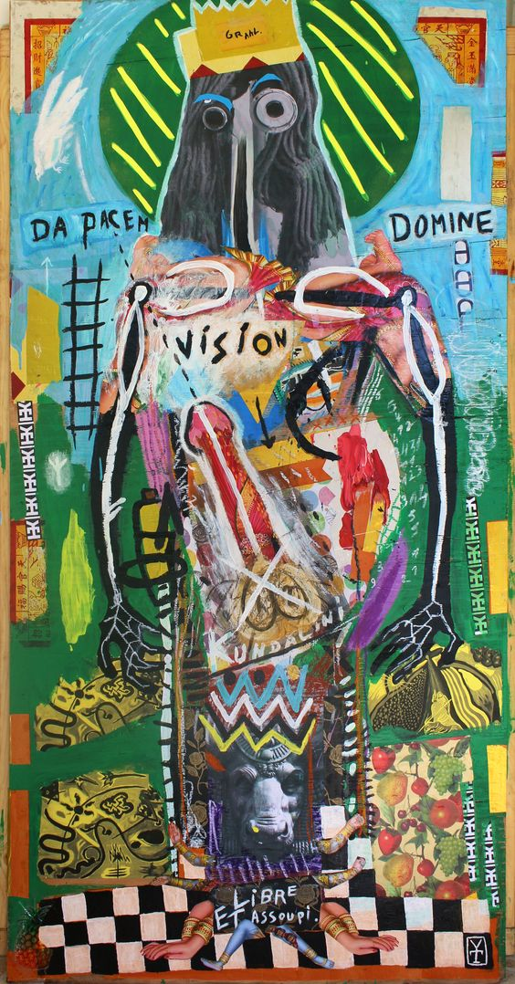 LIBRE ET ASSOUPI - Acrylic / collage and oil pastel on wood - 2016