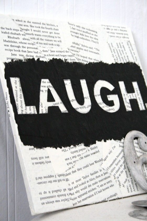 Mixed Media LAUGH Black and White Art by TheVirginiaHouse on Etsy, $11.00