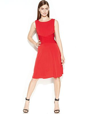 Calvin Klein Sleeveless Shutter Pleat Dress - Sale &amp Clearance ...