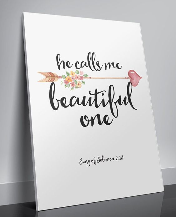 Nursery Bible verse He calls me beautiful by TwoBrushesDesigns #prints
